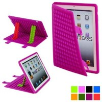 Cooper Cases(TM) Blocks Apple iPad 2/3/4 Silicon Folio Case in Purple (Soft Rubbery Exterior, Auto Sleep/Wake Cover, Toy-like DIY Stand Support)