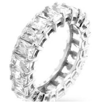 Riana Radiant Cut Eternity Stackable Ring | 8ct | Cubic Zirconia | Sterling Silver