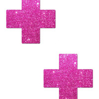 PLUS X: HOT PINK GLITTER CROSS NIPPLE PASTIES BY TEASE O/S