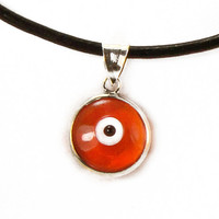 Greek Evil Eye Necklace, Orange Silver Pendant, Eye Charm, Mati, Hamsa, Nazar