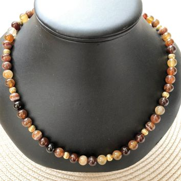 Brown Agate Mens Beaded Necklace