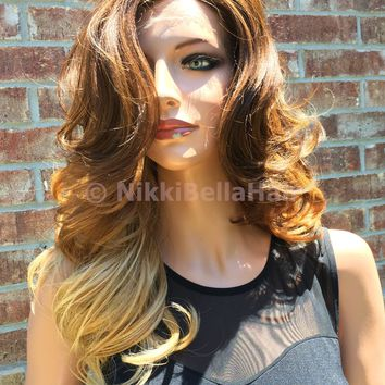 """Ombre Dark Auburn to Light Blond Curls Lace front wig 14"""""""
