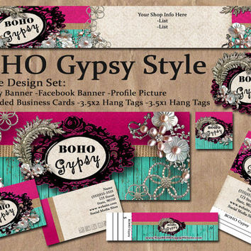BOHO Gypsy Style | Business Start Up Package | Logo Design | Etsy Shop | Facebook Page | Business Cards | Hang Tags