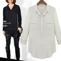 New Long-sleeve Blouse Turn-down Collar Women's Fashion Shirt Tops = 1904770308