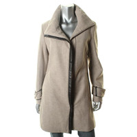 Calvin Klein Womens Wool Contrast Trim Coat