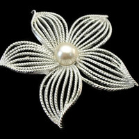 "1960s Sarah Coventry Silver Flower Brooch 1967 ""Moonflower"" Faux Pearl Large Openwork Pin - Big Moon Flower Floral Brooch - Morning Glory"