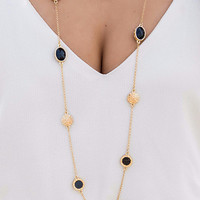Just A Little Bit More Black Oval Gold And Coin Long Chain Necklace