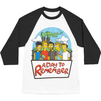 A Day To Remember Men's  Simpsons Baseball Jersey Black & White Rockabilia
