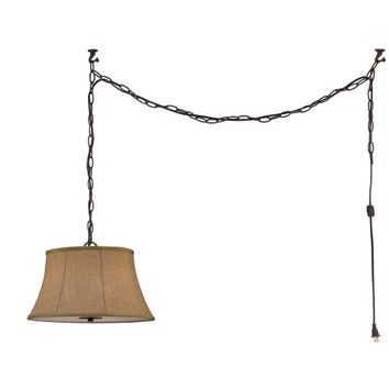 Canarm ICH230B03ORB16 Effie Oil Rubbed Bronze Three Light Chandelier with Beige Shade and Frosted Diffuser Glass