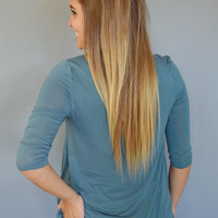 Forest Trail 3/4 Sleeve Top Teal