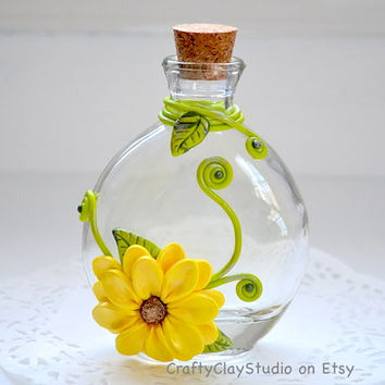 Flower Vase - Clay Decor - Polymer Clay Decor - Clay Flowers - Small Vase - Glass Bottle - OOAK Decor - Glass Bottle Decor - Fantasy Bottle