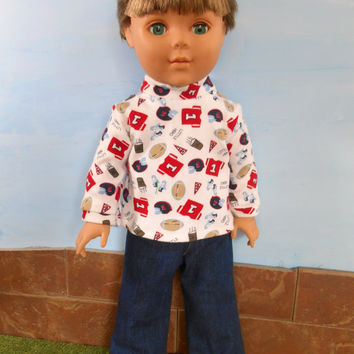 18 Inch Doll Clothes, Boy Doll Clothes, Football T-shirt and Blue Jeans, Long Sleeved T shirt and Blue Jeans, Winter Doll Clothes