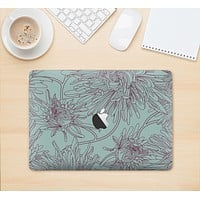 """The Teal Aster Flower Lined Skin Kit for the 12"""" Apple MacBook"""