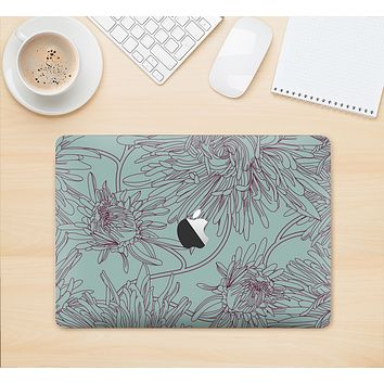 "The Teal Aster Flower Lined Skin Kit for the 12"" Apple MacBook"