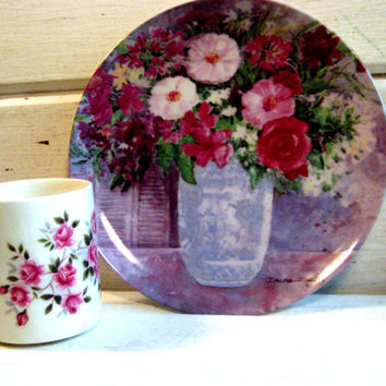 Dawna Barton Bone China Plate - signed, Made in Japan, Enoch Wedgwood Tunstall Ltd. English Mug , Plum floral decor