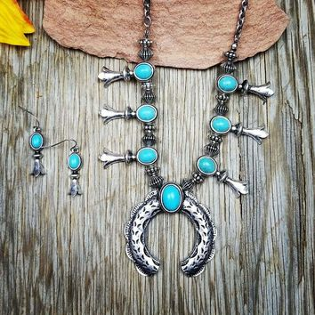 Small Turquoise Squash Blossom Necklace