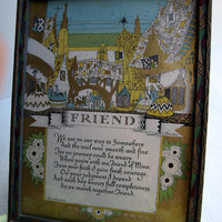 "Motto Print ""FRIEND"" Framed Picture Poem BUCKBEE-BREHM Henrickson 1910s 1920s"