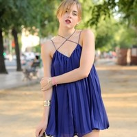 Criss Cross Strap Pleated Swing Dress