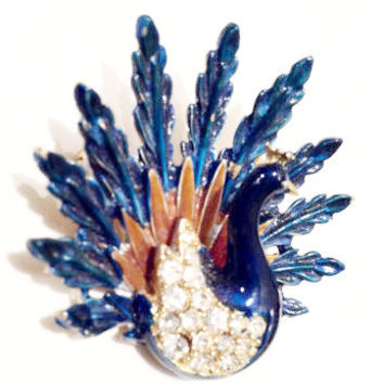 Peacock Brooch Pin Vintage Jewelry by designer Art