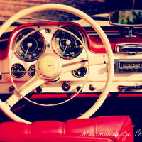 Classic Vintage Car Photo - Red and White Mercedes Benz Interior - 8x12 print - old automobile, steering wheel, dashboard - Mercedes Benz