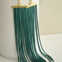 Long fringe earrings emerald - long dangle earrings - fringe earrings - Emerald Tassel earrings - Boho earrings - girlfriend gift idea