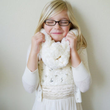Faux Fur Scarf in Creamy White Ivory , Faux Fur Infinity Scarf, Christmas Gift, Christmas Scarf, Girl Scarf, Tween Gift