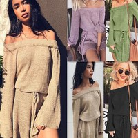 "Sexy ""一"" shoulder sweater dress 1018DY"