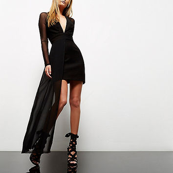 Black mesh hem plunge dress - bodycon dresses - dresses - women