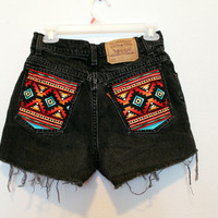 Distress navajo pocket high waisted shorts 28 inches