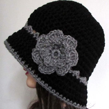 Womens Cloche Hat with Flower in Black and Gray , Crochet Cloche Hat , Handmade , 1920s , Bucket Hat , Flower