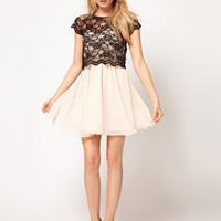 Rare Lace Top Skater Dress at asos.com