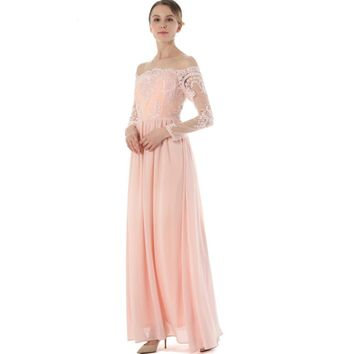 Off the Shoulder Maxi Floor Length Chiffon Summer Lace Transparent Juniors Girls Prom Party Dress