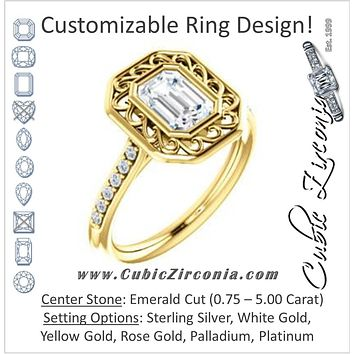 Cubic Zirconia Engagement Ring- The Hailey Belle (Customizable Cathedral-Bezel Emerald Cut Design with Floral Filigree and Thin Pavé Band)