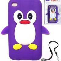 Purple Penguin Silicone Soft Case Cover for IPOD TOUCH 4 4G 4TH GENERATION (ITOUCH 4) + Free WirelessGeeks247 Detachable Neck Strap / Lanyard