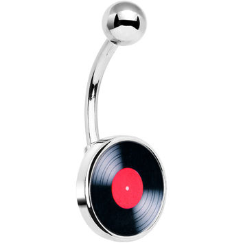 Stainless Steel Red Vinyl Rock Me Record Belly Ring