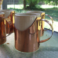 Vintage copper coffee mug holder set of 4