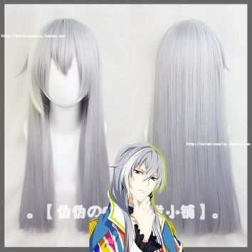2018 Anime IDOLiSH7 Cosplay Wig Re:vale YUKI Long Silver Gray Synthetic Hair for Adult Role Play