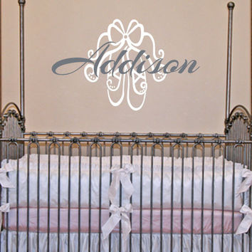 Ballerina Wall Decal - Personalized Ballet Shoe And Name Decal For Baby Girl Nursery Or Teen Girls Room Vinyl Wall Art 22H x 32W GN033