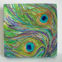 Peacock Feather Machine Embroidery Picture Canvas by nickyperryman