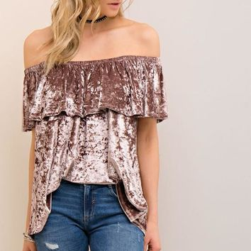 Latte Velvet Off Shoulder Top