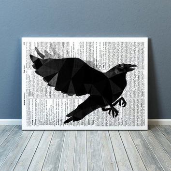 Bird print Geometric art Raven poster Wall decor TOA67-1