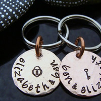 D2E personalized engraved hand stamped his and hers lucky penny anniversary key chains M