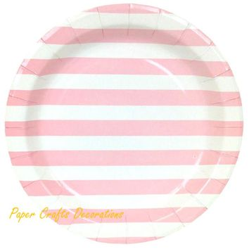24pcs/lot 9inch Baby Pink Striped Theme Party Round Paper Plates Wedding Cupcake Tableware Party Supplies Free Shipping