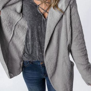 Gray Pocket Detail Long Sleeve Women Fluffy Hooded Coat