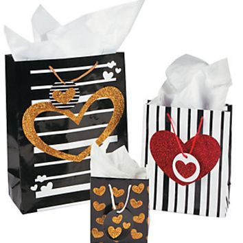 Valentine's Black and Gold Gift Bag
