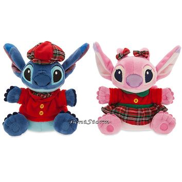 "Licensed cool Lilo & Stitch Hawaii & Angel 6"" Mini Stuffed Plush Doll Set Disney Store NEW"