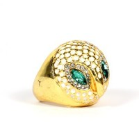 White Owl Dome Cocktail Ring Size 6 Gold Tone Green Crystal RD31 Animal Fashion Jewelry