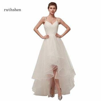 ruthshen Cheap High Low Wedding Dresses 2018 Spaghetti Straps Simple V Neck Tulle Short Front Long Back Sexy Wedding Gowns
