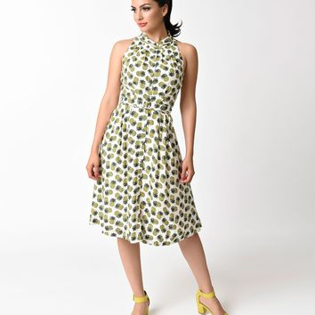Vintage Style Ivory & Pineapple Punch Sally Flare Dress