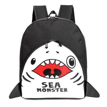 Adorable Shark Sea Monster Shaped Gym Rucksack Backpack in Black | Shark Week